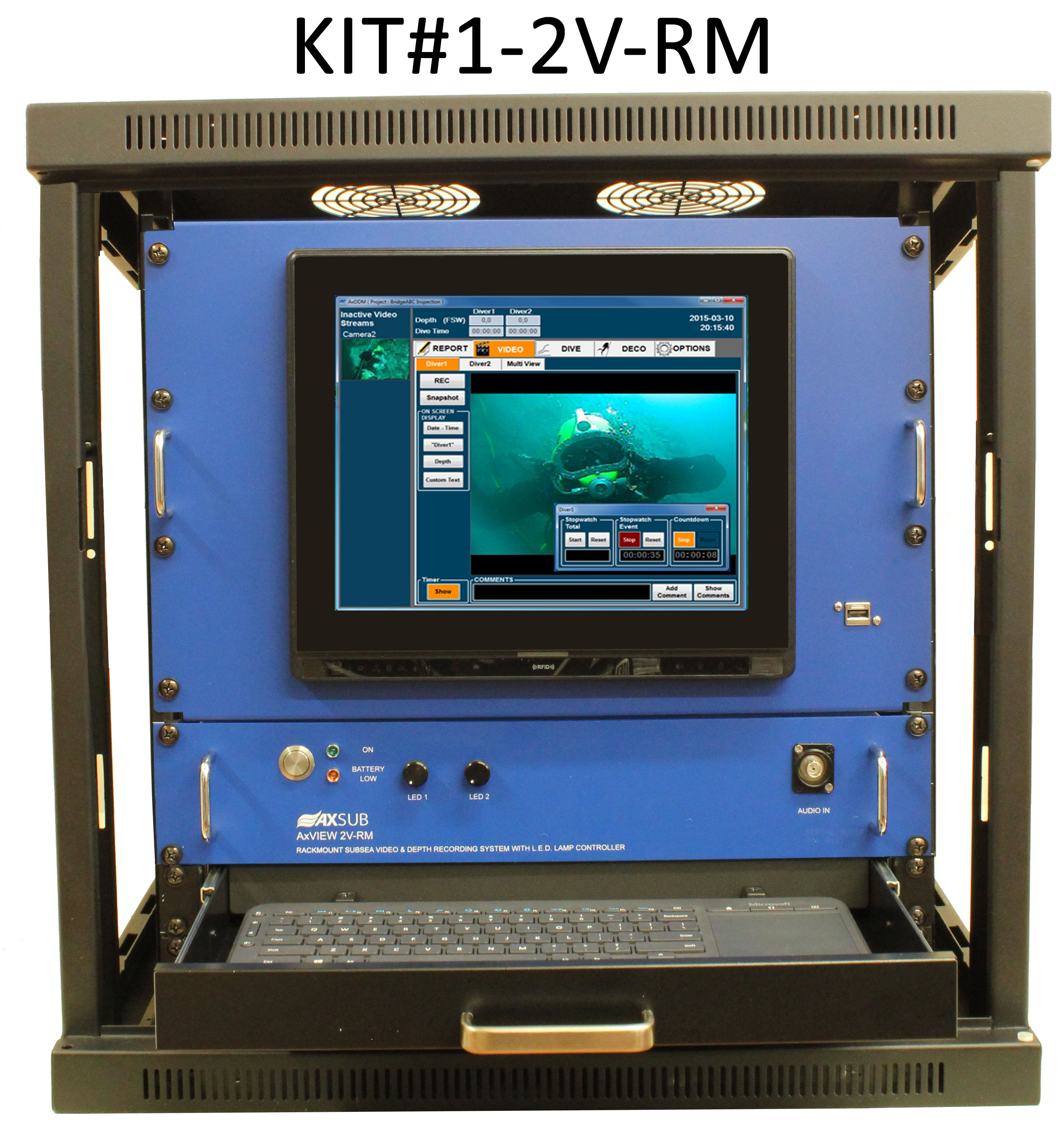 Axview rackmount subsea video and depth recording system - Dive system shop ...